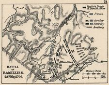 WAR OF SPANISH SUCCESSION. Battle of Ramillies 23rd May 1706. SMALL 1907 map