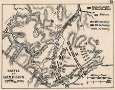 Guerre de succession d'espagne. bataille de ramillies 23rd mai 1706. petite carte de 1907