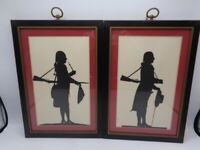 ESTATE FIND PAIR OF WOOD FRAMED MATTED BLACK INK SILHOUETTES-SOLDIERS