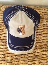 EMBROIDERED DOG BREED BOXER LOVER GIFT NAVY BLUE AND TAN BASEBALL CAP HAT