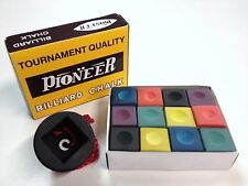 Pool Snooker Billiard Cue Tip Table Coloured Chalk AND Black Rubber chalk holder