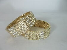 Lee Angel gold crystal square heavy Stretch bangle bracelet NIP 195