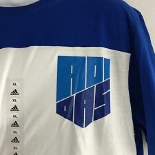 adidas Go To Performance Climalite Tee White & Royal Blue SS Football Size XL