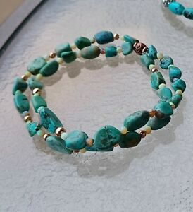 AMERICAN TURQUOISE FIRE OPAL NUGGET ROSE GOLD STRETCH CORD BRACELET SZ MD