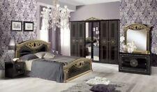 Julie Italian High Gloss Bedroom Set with 4 Door Wardrobe in Black & Gold