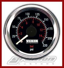 "Viair Air Pressure Gauge 2"" BLACK Dual Needle Air Ride Suspension 220 PSI 90080"