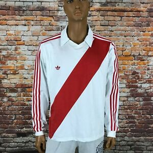 Adidas Peru FPF National Team Soccer Jacket White Red Retro Long Sleeve Size XL