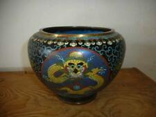 Antique China TOP QING LARGER CLOISONNE ENAMEL POT WITH IMPERIAL DRAGON FIGURES