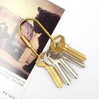 Vintage Brass Keychain Keyring Key Chain Ring Clip Split Carabiner-Outdoor H6R4