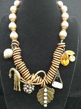 Retro Chic Brown Wood Rings & Vintage Bead Rhinestone & Maple Leaf  Necklace