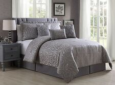 7-Piece Jacquard Metallic Silver Gray Floral Damask Comforter Set, Queen