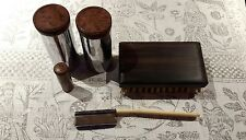 1930s Mens Vanity Case Containers and Brushes Chrome/Bakelite