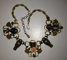 "Rare Vtg 17x1-1/2"" Hobe Gold Tone Enamel Egyptian Revival Bakelite Necklace"