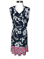 ELIZA J Plus Size 18W A-Line Dress Blue White Pink Floral Sleeveless Midi