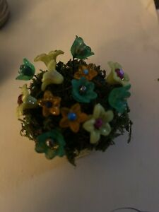 Miniature Dollhouse FAIRY GARDEN Accessories ~ Handmade Flowers in Pot