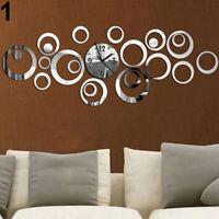 KQ_ KE_ Removable Art Deco Style Wall Sticker Clock Decal Art Home Decor Ea