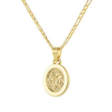 """Muslim Religious God Allah 18K Gold Plated Oval Round Pendant Necklace 24"""""""