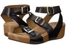 Dansko Lou Sandal Black Burnished Calf Leather Strappy Wedge NEW Size 41