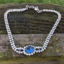 "VIntage Chocker Necklace Diamanté & Blue Faceted Crystal Rhinestone 14"""