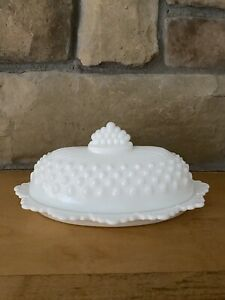 """Vintage FENTON White Hobnail Milk Glass BUTTER DISH w/ Cover approx 6"""" length"""