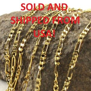 """28"""" Inch 2mm 18k Gold Plated Figaro Chain Necklace - 3.8g - From USA- BRAND NEW!"""