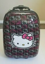 Hello Kitty Pink & Black Hard Shell Rolling Luggage Suit Case Pre-Owned