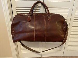 Handmade In Italy Large Genuine Leather Brown Duffle / Weekend / Luggage Bag
