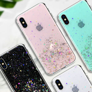 For Samsung Galaxy S10 Plus S9 S8 Note 9 8 Epoxy Soft Case Glitter Star Cover