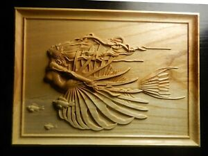 Wood carved picture wall decoration plaque. Fish woman, Mermaid.  Perfect  gift