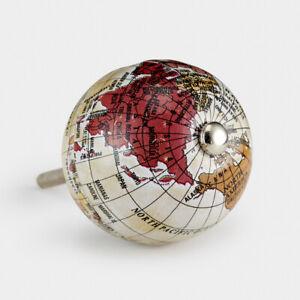 Vintage Brown & Red Globe World Map Cupboard Drawer Pull Handle Door Knob