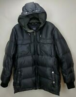 Gap Mens Large Down Puffer Jacket Coat Parka Black Hooded Insulated Full Zip
