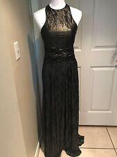 ALEXIS maxi dress pleated assymetrical hem Shimmery Bronze color Sz S Orig. $628