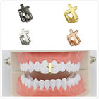 Fashion Hip Hop Gold Plated Single Silver Teeth Grillz Grill Cap Cross Gift