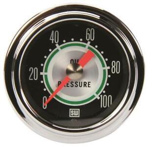 Stewart Warner 360DP Green Line 2-1/16 Mechanical Oil Pressure Gauge
