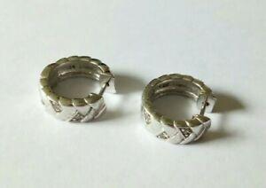 Silber 925 Creolen mit klaren Steinchen Esprit Ohrringe schmal