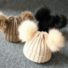 Baby Boy Girls Winter Warm Double Fur Pom Bobble Knit Beanie Hat Cap Hot