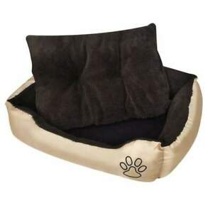 XL DOG BED WITH PADDED CUSHION - Brown and Cream