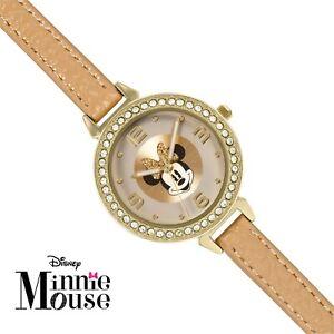 DISNEY MINNIE WOMEN'S CRYSTAL STONES SET GOLD CASE BROWN STRAP WATCH - MN5084