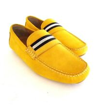 S-1636102 New Bally Wabler 362 Mustard Suede Driver Shoes Sz US 9.5D Marked 8.5E