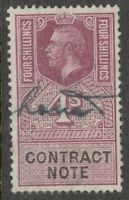 KIng George V - 4s Mauve - Contract Note. - Used.