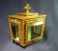 ITALY Biondan BRONZE & thick BEVEL Glass Christian Funeral Locking Offering BOX