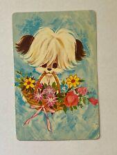 SINGLE 1 PLAYING SWAP CARD - PUPPY IN FLOWER BASKET   (TT467S)