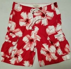 Abercrombie Fitch Mens Board Shorts Swim Trunks Red White Hawaiian Floral Small