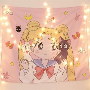 "Sailor Moon Anime Tapestry Cute Kawaii Wall Hanging Poster 51x60"" Room Decor NEW"