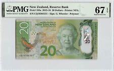 New Zealand 2016 P-193a PMG Superb Gem UNC 67 EPQ 20 Dollars *Polymer*