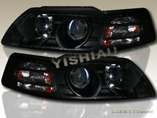 1999-04 MUSTANG PROJECTOR BLACK HEADLIGHTS LAMPS PAIR + AMBER REFLECTOR