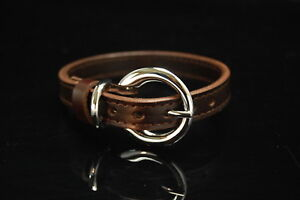 Genuine Cowhide Leather Pet Collar Alloy Neck Buckle Belt for Dogs & Cats
