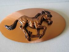 Copper Horse Plaque~Decorative Oval Shaped Wall Hanging