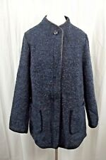 Susan Graver Womens Blazer Sz 16 Black Blue Marl Full Zip Dress Jacket Coat XXL