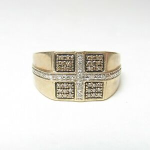 Mens Estate 10K Yellow Gold Cognac And White Single Cut Diamond Ring 0.40 Cts